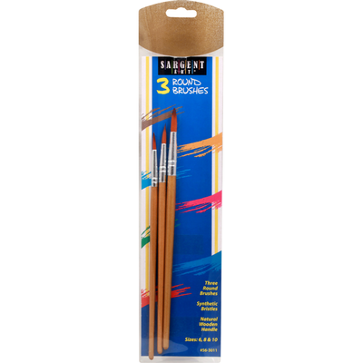 Sargent Art Round Brushes, Synthetic Bristles