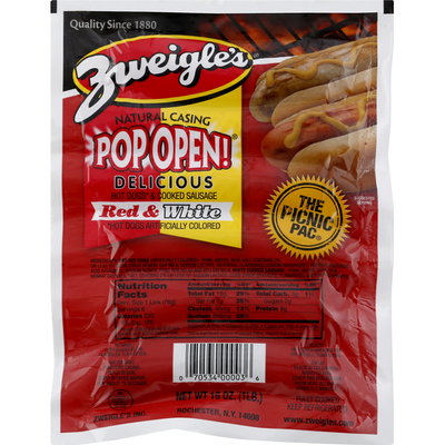 Zweigles Hot Dogs & Cooked Sausage, Red & Whites
