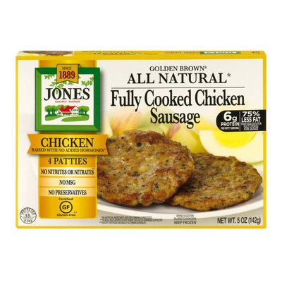 Jones Dairy Farm Golden Brown All Natural Fully Cooked Chicken Sausage Patties
