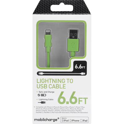 MobileCharge Cable, Lightning to USB, Green, 6.6 Feet
