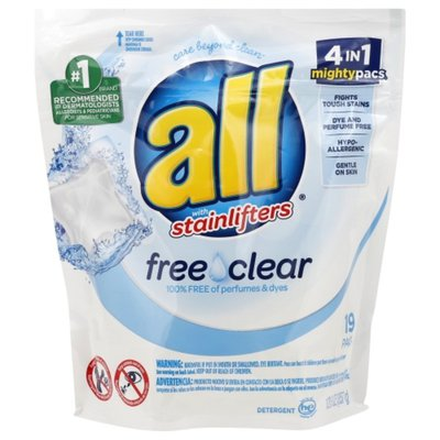 all Detergent, with Stainlifters, Free Clear, Pacs