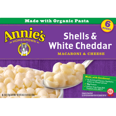 Annie's Natural Shells and White Cheddar Macaroni and Cheese