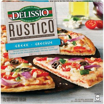 Delissio Rustico Greek Stone Baked Thin Crust--Rustico Grecque Croute Mince Cuite Sur Pierre Pizza--Pizza
