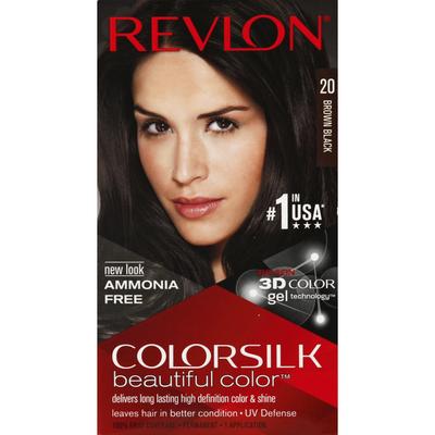 Revlon ColorSilk Permanent Hair Color 20 Brown Black