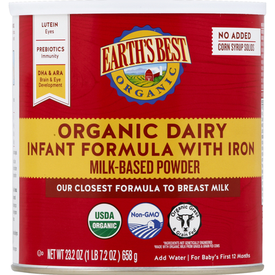 Earth's Best Organic Dairy Infant Formula with Iron