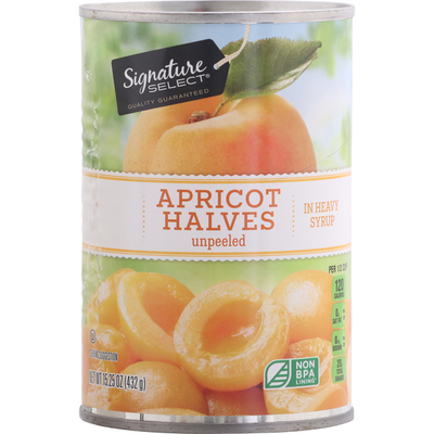 Signature Kitchens Apricot Halves in Heavy Syrup, Unpeeled
