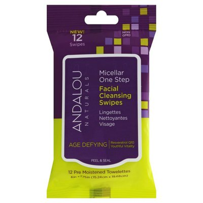 Andalou Naturals Cleansing Swipes, Facial, Micellar One Step