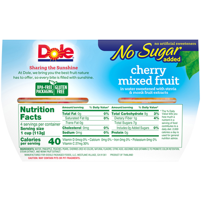 Dole No Sugar Added Cherry Mixed Fruit