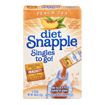 Snapple Diet Snapple Singles To Go Low Calorie Peach Tea Drink Mix - 8 CT