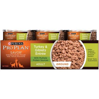 Pro Plan Cat Wet Savor Adult Turkey & Giblets Entree Ground Cat Food