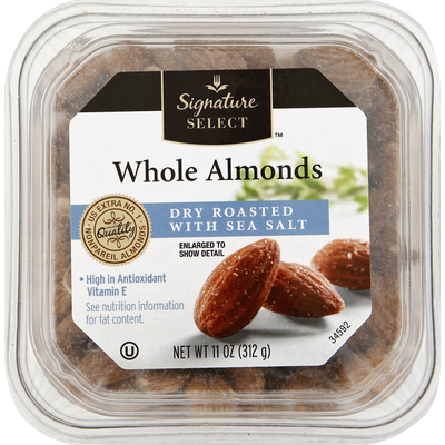 Signature Kitchens Almonds, Whole, Dry Roasted with Sea Salt