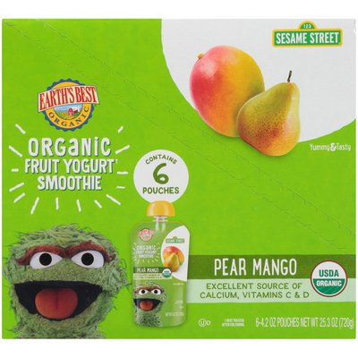 Earth's Best Sesame Street Pear Mango Organic Fruit Yogurt Smoothie