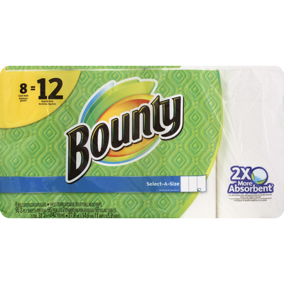 Bounty Paper Towels, Select-A-Size, Giant Rolls, White, 2-Ply