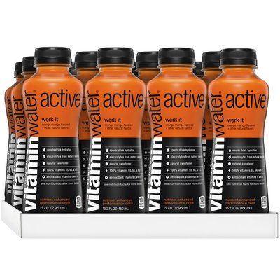 vitaminwater active orange mango sports drinks w/ antioxidants and electrolytes