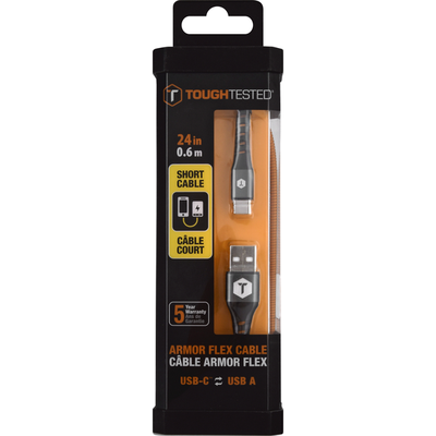 ToughTested Cable, Armor Flex, USB-C to USB-A, Short