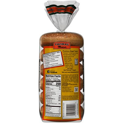 Thomas' 100% Whole Wheat Soft & Chewy Pre-Sliced Bagels