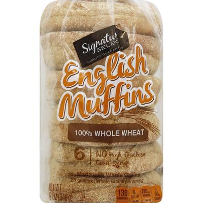 Signature Kitchens English Muffins, 100% Whole Wheat