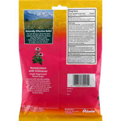 Ricola Cough Suppressant/Throat Drops, Honey Lemon with Echinacea, Family Pack