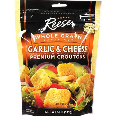 Reese's Croutons, Premium, Whole Grain, Garlic & Cheese, Large Cut