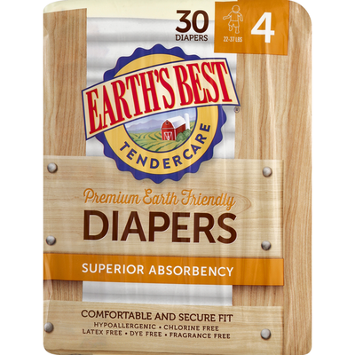 Earth's Best Diapers, Premium Earth Friendly, 4 (22-37 lbs)
