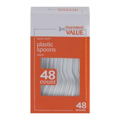 Guaranteed Value Plastic Spoons White - 48 CT