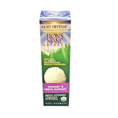 Host Defense Lion's Mane Extract Made With U.s. Grown, Triple Extracted Organic Mushroom Mycelium And Fruitbodies Memory & Nerve Support Gluten Free Dietary Supplement Liquid