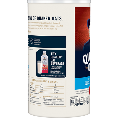 Quaker Oats Oats, 100% Whole Grain, Quick 1-Minute