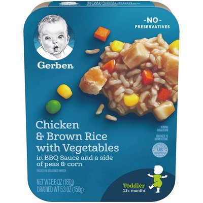 Gerber Chicken and Brown Rice with Vegetables in BBQ Sauce with Peas and Corn