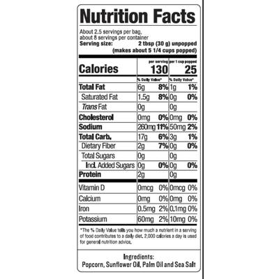 SkinnyPop Microwave Popcorn, Sea Salt