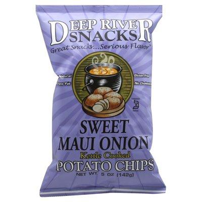 Deep River Snacks Potato Chips, Kettle Cooked, Sweet Maui Onion