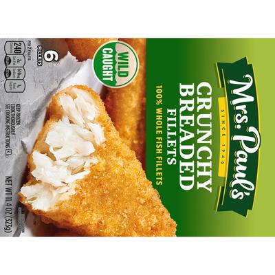 Mrs. Paul's Fish Fillets, Breaded, Crunchy