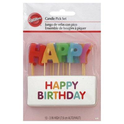 Wilton Candle Pick Set, Happy Birthday, 3 Inch High