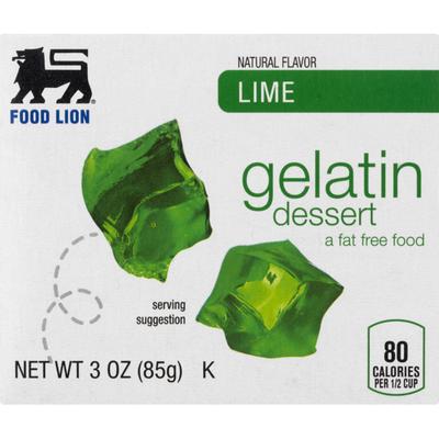 Food Lion Gelatin Dessert, Lime, Box