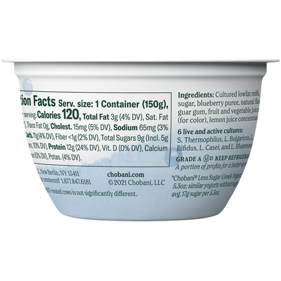 Chobani Less Sugar Low-Fat Greek Yogurt Wild Blueberry