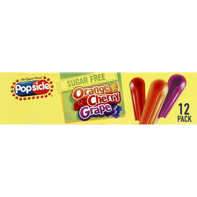 Popsicle Ice Pops Sugar Free Orange Cherry Grape