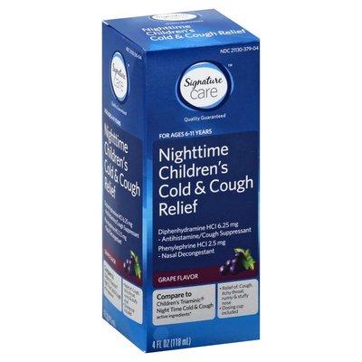 Signature Care Cold & Cough Relief, Children's, Nighttime, Grape Flavor