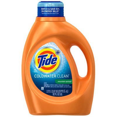 Tide Coldwater Mountain Spring Scent Liquid Laundry Detergent, 92 oz, 48 loads Laundry