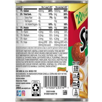 Campbell's® SpaghettiOs® Canned Pasta with Meatballs