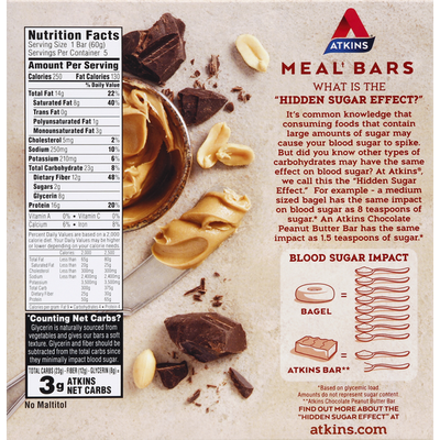 Atkins Advantage Protein-Rich Meal Bar Chocolate Peanut Butter Bar - 5 CT