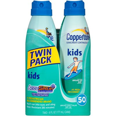Coppertone Kids Twin Pack Broad Spectrum SPF 50 Continuous Spray Sunscreen