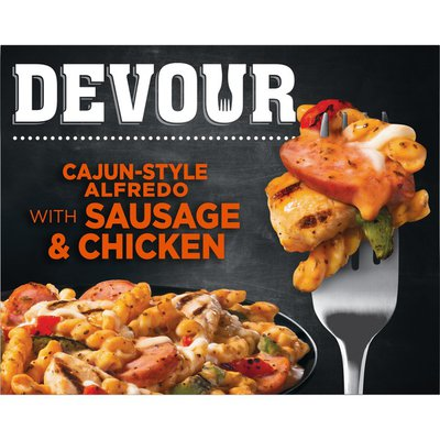 Devour Cajun-Style Alfredo with Smoked Sausage & Chicken Frozen Meal