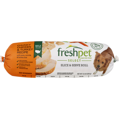 Freshpet Slice & Serve Roll Chunky Chicken & Turkey Recipe with Peas, Carrots & Brown Rice