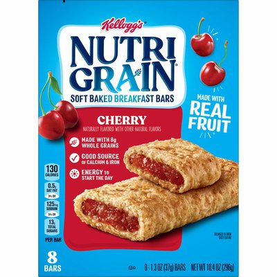 Kellogg's Nutri-Grain Soft Baked Breakfast Bars, Made with Real Fruit and Whole Grains, Cherry