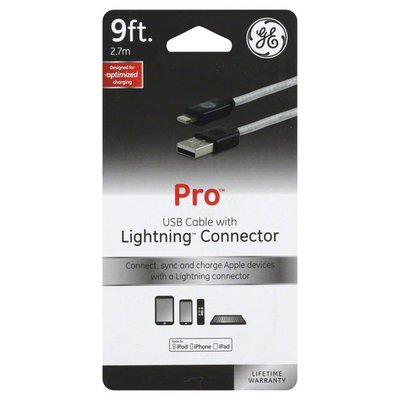 GE USB Cable, with Lightning Connector, 9 Feet