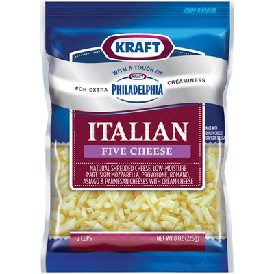 Kraft Italian Five Cheese W/Touch of Philadelphia Shredded Cheese