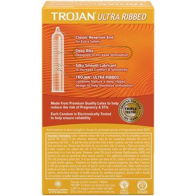 Trojan Ultra Ribbed Premium Lubricant Latex Condoms