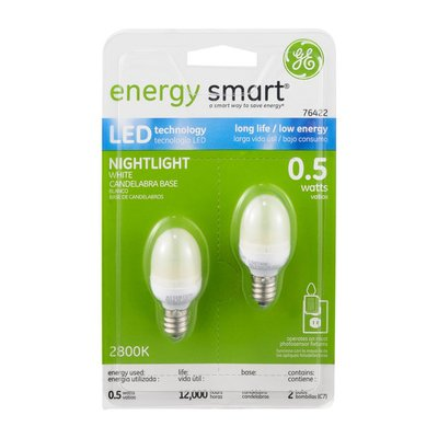 GE Energy Smart LED Technology Nightlight .5 Watt Candelabra Base Bulb - 2 CT