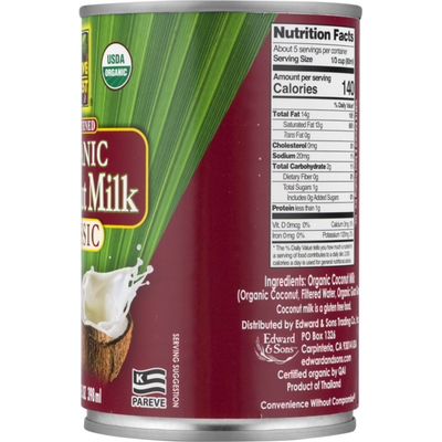 Native Forest Coconut Milk, Organic, Unsweetened, Classic