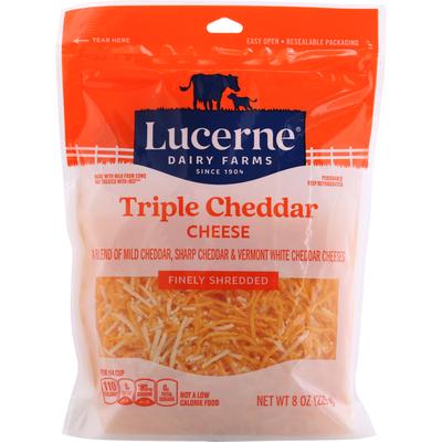 Lucerne Shredded Cheese, Finely, Triple Cheddar