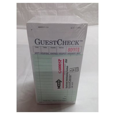 """National Checking Company G6000SP 3-1/2"""" X 6-3/4"""" Green White 2 Part Guest Check Pad"""